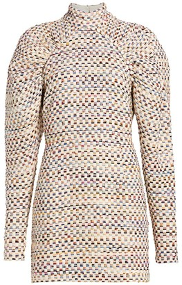 Rotate by Birger Christensen Kim Multicolor Grid Mini Puff-Sleeve Sheath Dress