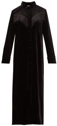 BLAZÉ MILANO Etoile Beaded-fringe Velvet Shirtdress - Womens - Black