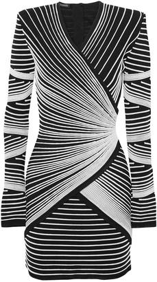 Balmain Wrap-effect Jacquard-knit Mini Dress