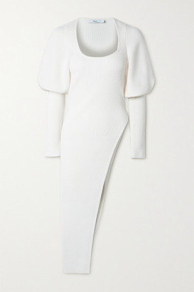 Safiyaa Louise Asymmetric Ribbed Wool-blend Sweater - Ivory