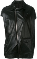 Rick Owens asymmetric short sleeve biker jacket - women - Cotton/Leather/Cupro/Viscose - 40