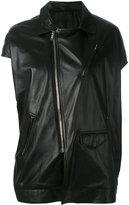 Rick Owens asymmetric short sleeve biker jacket