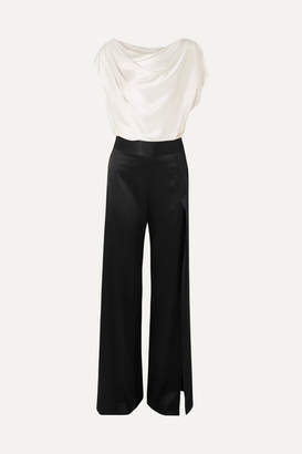 Mason by Michelle Mason Draped Two-tone Silk-charmeuse Jumpsuit - Ivory