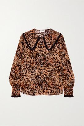 Rixo Misha Crochet-trimmed Leopard-print Woven Blouse - Leopard print