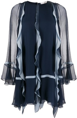 Chloé Sheer-Sleeved Ruffle Dress