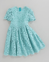 Dolce & Gabbana Short Sleeve All-Over Lace Dress, Size 4-6