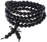 Top Plaza Unisex 108 Natural Wood 6mm 8mm Beads Bracelet Buddhist Rosary Mala Necklace