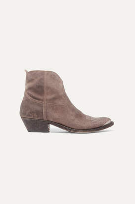 Golden Goose Young Distressed Embellished Embroidered Suede Ankle Boots - Taupe