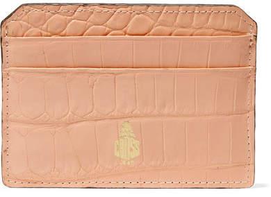 Mark Cross Crocodile Cardholder - Peach