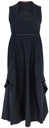 High Favour Pinstriped Stretch-jersey Midi Dress