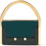 Marni Gold-tone, leather and enamel brooch