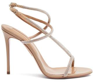 Aquazzura Moondust 105 Crystal-strap Leather Sandals - Womens - Nude
