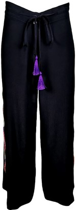 Lalipop Design Black Pants With Colorful Ribbons