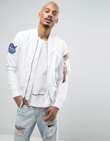 Alpha Industries Ma1tt Nasa Bomber Reversible Jacket Slim Fit In Stars And White