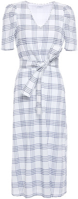 Claudie Pierlot Checked Cotton-blend Seersucker Midi Dress