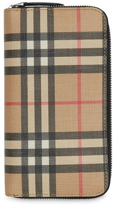 Burberry Vintage Check E-canvas Ziparound Wallet