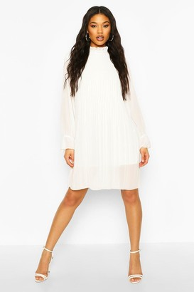 boohoo Ruched Neck Pleated Swing Dress