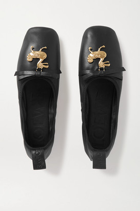 Loewe Embellished Leather Ballet Flats - Black
