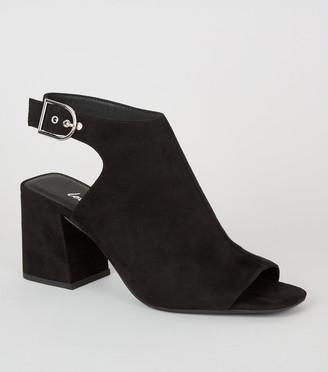 New Look Suedette Flared Heel Buckle Slingbacks