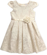 Sweet Heart Rose Ivory & Gold Shiny Dress, Little Girls (2-6X)