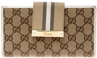 Gucci Beige/White GG Canvas and Leather Web Original Continental Wallet