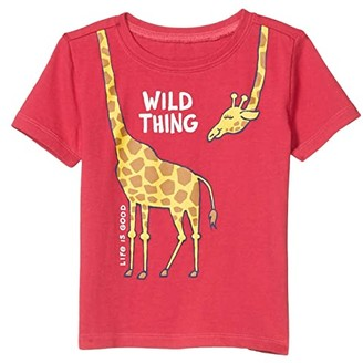 Life is Good Wild Thing Giraffe Crusher Tee (Toddler) (Sangria Red) Kid's Clothing