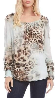Karen Kane Cheetah-Print Boatneck Top