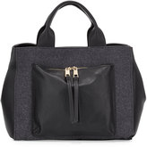 Neiman Marcus Wool Zip-Pocket Tote Bag, Charcoal/Black