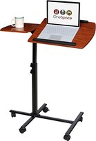 OneSpace 50-JN01 Angle and Height Adjustable Mobile Laptop Computer Desk with Dual Surface, Cherry