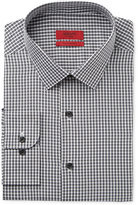 Alfani RED Men's Fitted Charcoal Mini Check Dress Shirt, Only at Macy's