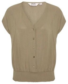 Dorothy Perkins Womens Dp Petite Khaki Slub Button Top, Khaki