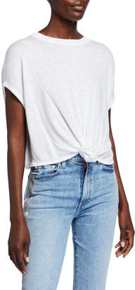 Alice + Olivia Cammy Tie-Front Short-Sleeve T-Shirt