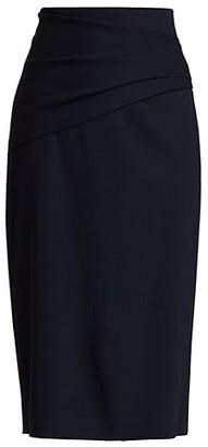 HUGO BOSS Velila Drapy Stretch Virgin Wool-Blend Pencil Skirt