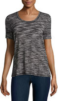 Liz Claiborne Short Sleeve Draped Neck T-Shirt