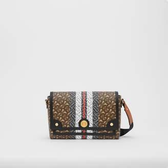 Burberry Monogram Stripe E-canvas Note Crossbody Bag