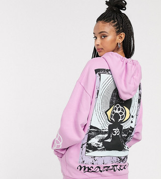 Crooked Tongues oversized hoodie with back print in pink
