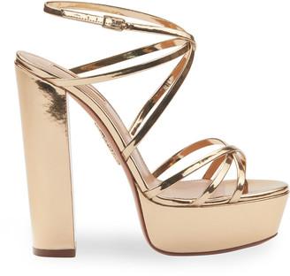 Aquazzura Gin 140mm Metallic Leather Platform Sandals