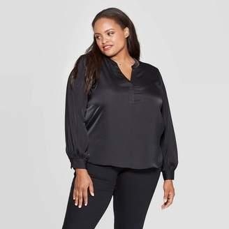 Ava & Viv Women's Plus Size Long Sleeve V-Neck Popover Top