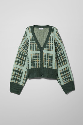 Weekday Cora Check Cardigan - Green