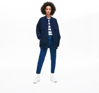 Lacoste Women's Quilted Lining Long Wool Crepe Bomber Jacket