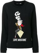 Love Moschino diamond girl print sweatshirt
