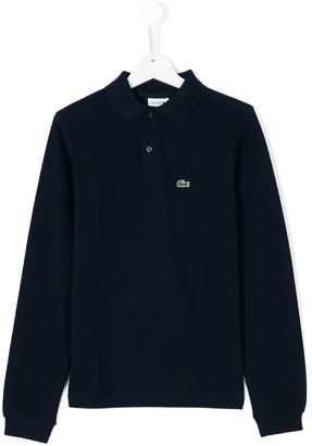Lacoste Kids TEEN logo long-sleeve polo top