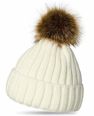 Celeblook L27 Celebmodelook Adult Kids Knitted Winter Warm Beanie Bobble Pom Pom Hat Ladies Chunky Soft Cable Knit hat Detachable Fur Pompom (Cream Adult)