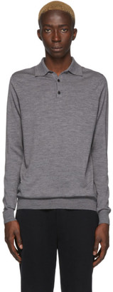 Sunspel Grey Merino Wool Polo