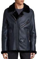BLK DNM Fur Trimmed Leather Jacket