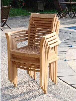 Teak Smith Mas Stacking Teak Patio Dining Chair