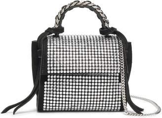 Elena Ghisellini Angel Chain-trimmed Crystal-embellished Suede Shoulder Bag