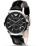 Emporio Armani Slim Black Watch with Leather Strap, 43mm
