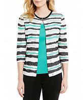 Ming Wang Stripe Sheer Burnout Jacket