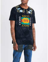 Gucci Floral-embroidered Cotton-jersey T-shirt